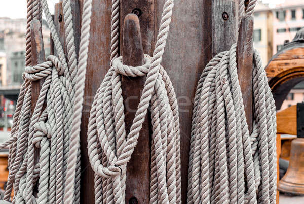 Stock photo: Ropes on the shroud on a sailing ship close-up