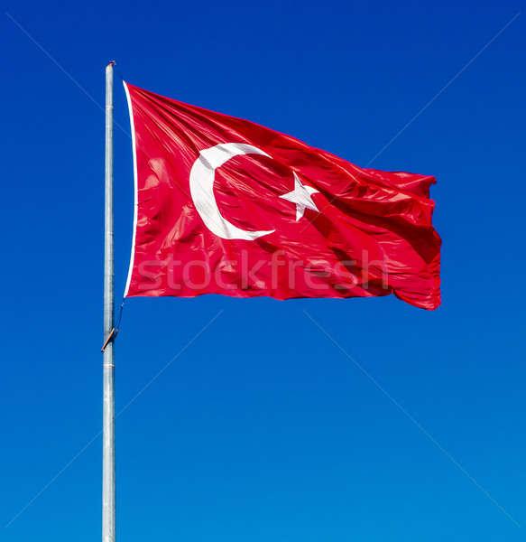 Integet zászló Törökország kék ég égbolt hold Stock fotó © amok
