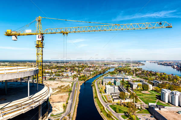 Tower crane in construction site. Riga city, Latvia Stock photo © amok