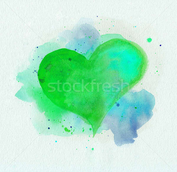 Watercolor heart. Green and blue colors Stock photo © amok