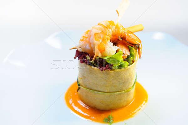 Finom edény garnéla tányér étel tigris Stock fotó © amok