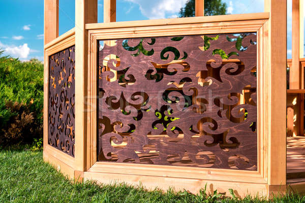 Outdoor wooden carved gazebo  Stock photo © amok