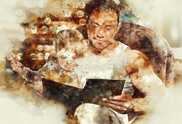 Apa olvas könyv lánygyermek digitális vízfesték Stock fotó © amok