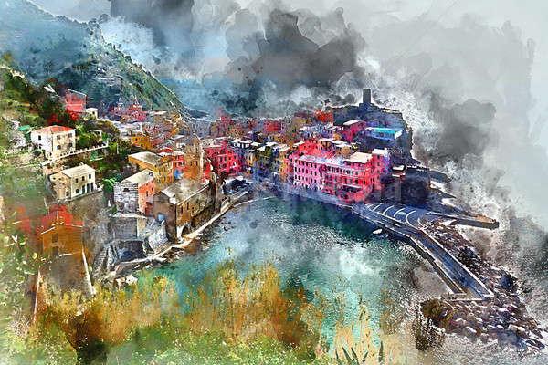 Digitale aquarel schilderij klein kust dorp Stockfoto © amok