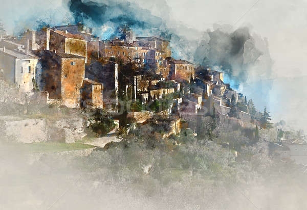 Digital watercolor painting of Gordes, is a very beautiful hilltop village in France Stock photo © amok
