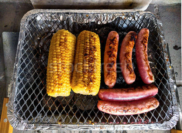 Mais Würstchen Grill Essen Fleisch Mais Stock foto © amok