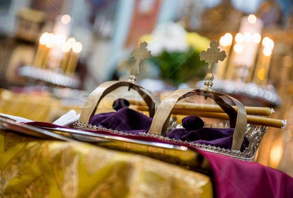 Arany ortodox esküvői ceremónia fény pár templom Stock fotó © amok