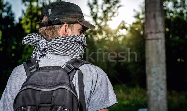 Man covering face with a scarf. Terrorism concept.  Stock photo © amok