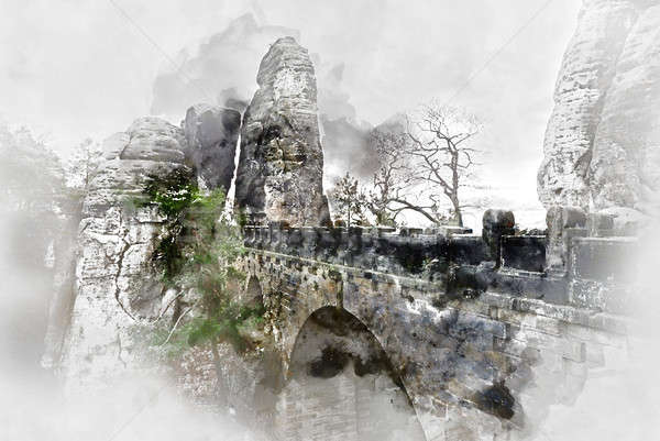 Digital watercolor painting of an old Bastei Bridge. Germany Stock photo © amok