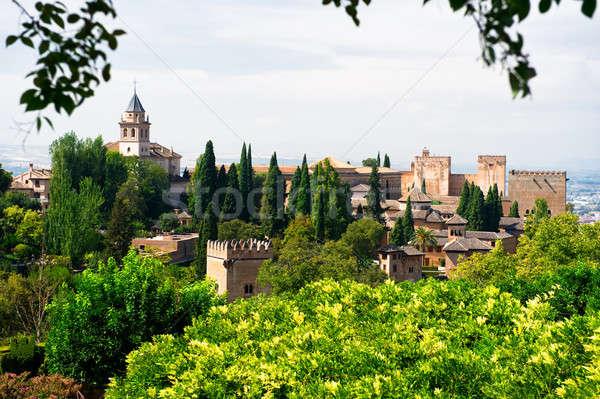 Alhambra palota kilátás város Spanyolország épület Stock fotó © amok