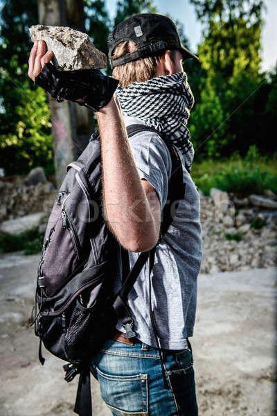 Man groot steen hand fles Stockfoto © amok