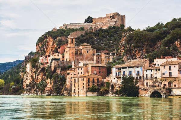 Miravet village and Ebro river. Province of Tarragona. Spain Stock photo © amok