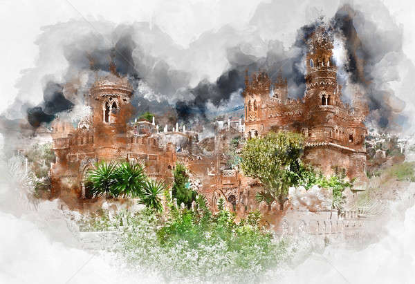 Digital watercolor painting of a Colomares Castle Stock photo © amok
