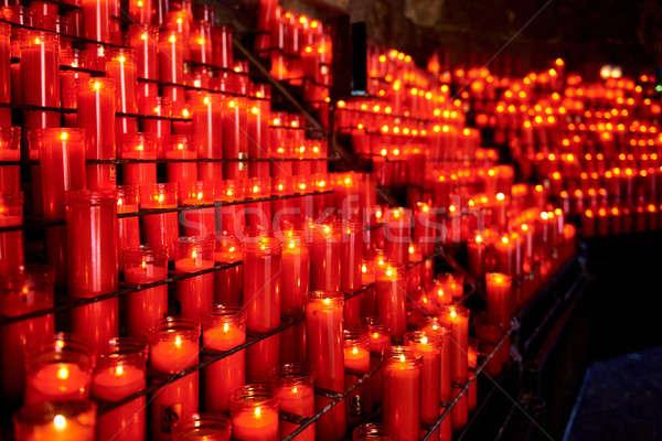 Candle path. Santa Maria de Montserrat. Spain Stock photo © amok