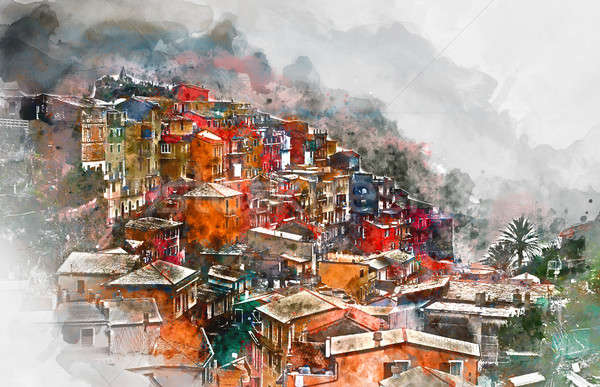 Digital watercolor painting of Manarola. Manarola is a small coastal village in the Italian region o Stock photo © amok