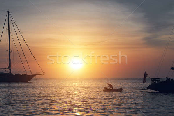 Vessels at Cala Saona in Formentera during sunset.  Stock photo © amok
