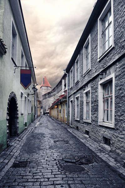 Strada città vecchia Tallinn Estonia cielo casa Foto d'archivio © amok