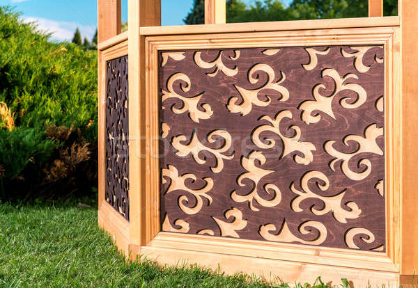 Stock photo: Outdoor wooden carved gazebo