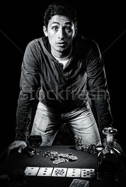 Genç kumarbaz siyah beyaz fotoğraf erkekler Stok fotoğraf © amok