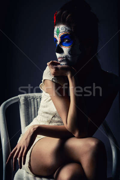 Day of the dead girl with sugar skull make-up  Stock photo © amok