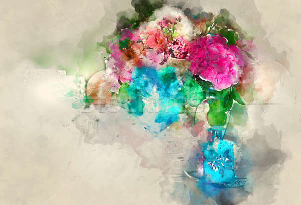 Colorful bouquet of flower. Digital watercolor painting Stock photo © amok