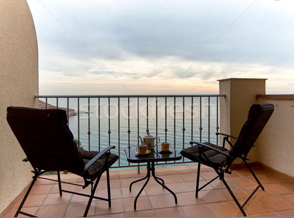 Summer terrace and view to the Mediterranean Sea. Spain Stock photo © amok