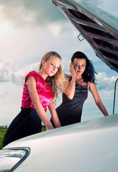 Due giovani donne auto rotta strada viaggio ragazze Foto d'archivio © amok