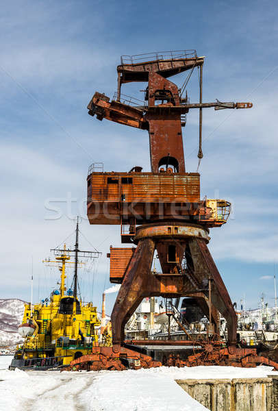 Stock photo: Old crane on seaport