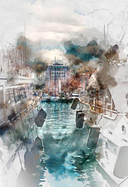 роскошь порта Франция цифровой акварель Живопись Сток-фото © amok