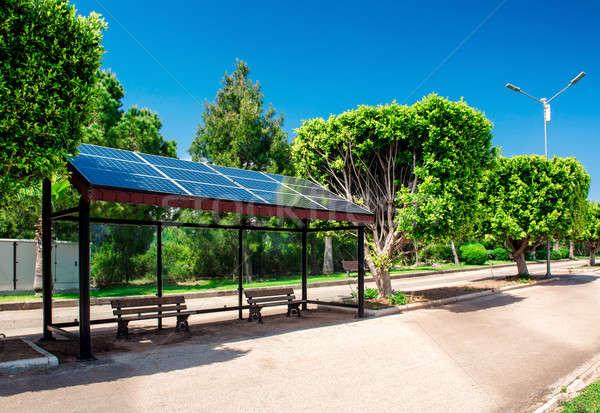 Güneş otobüs durağı yol şehir enerji gelecek Stok fotoğraf © amok