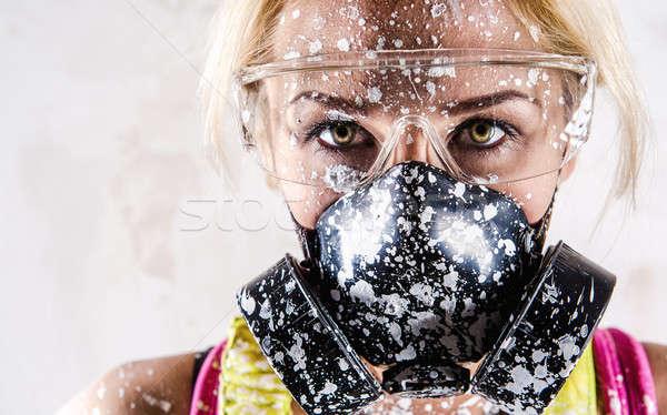 Porträt Frau filtern Maske Gesicht Arbeit Stock foto © amok