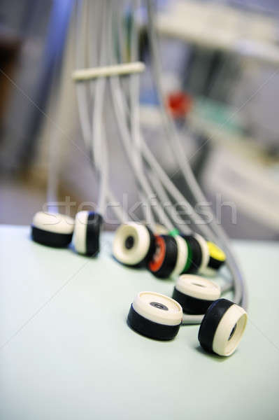 Close-up of electrocardiographic sensors Stock photo © amok
