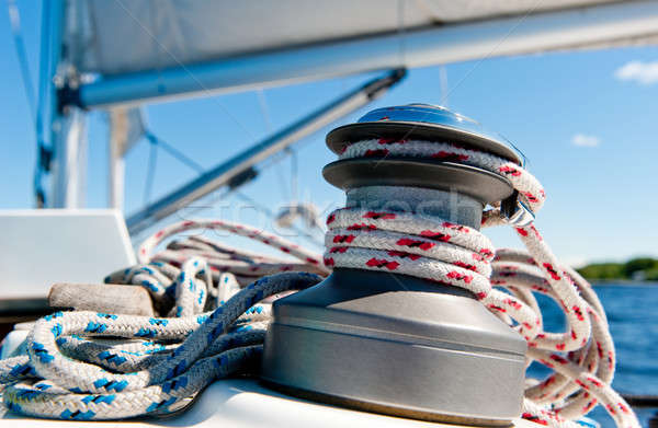 Winch with rope on sailing boat Stock photo © amok