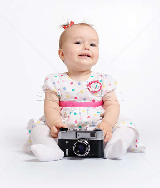 Adorable baby with retro camera over white background Stock photo © amok