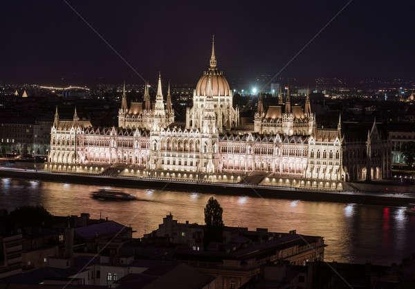 Húngaro parlamento edifício noite Budapeste Hungria Foto stock © amok