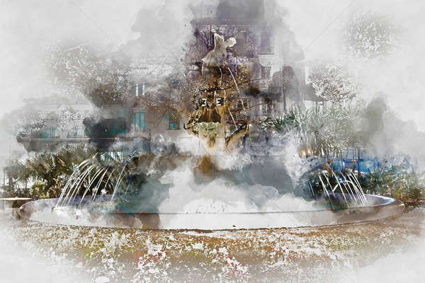 Plaza Gabriel Miro fountain. Digital watercolor painting Stock photo © amok