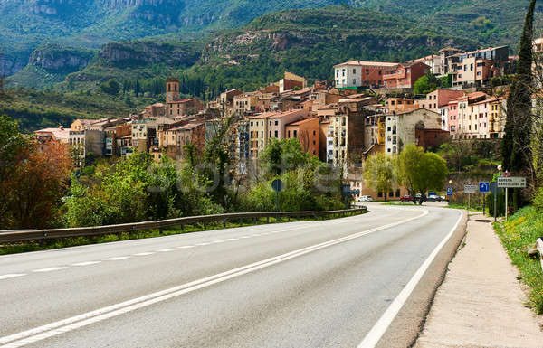 Road leading to the town of Monistrol de Montserrat Stock photo © amok