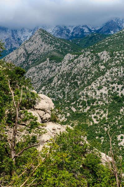 Manzaralı dağ manzara park Hırvatistan bulutlar Stok fotoğraf © amok