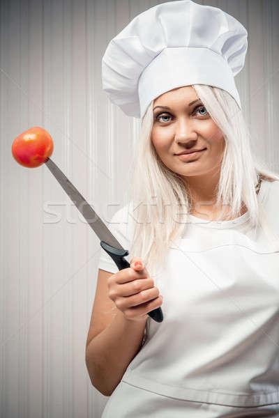 女性 調理 作業 ナイフ ストックフォト © amok