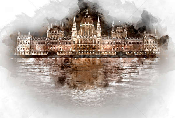 Digital watercolor painting of Hungarian Parliament Building  Stock photo © amok