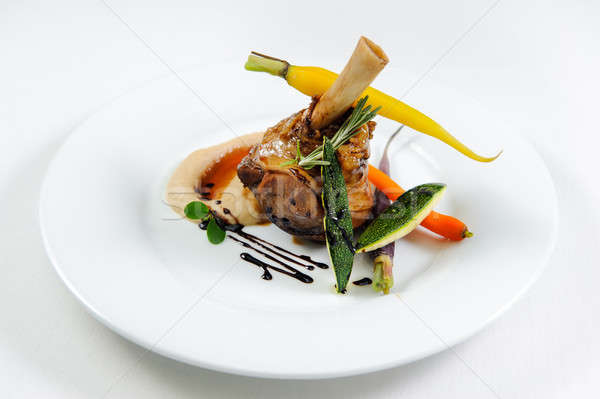 caramelized shank of lamb with celery and coffee puree, vegetabl Stock photo © amok