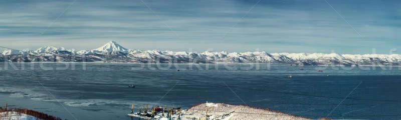 Panoramic view of Vilyuchinsky volcano and Avacha bay Stock photo © amok