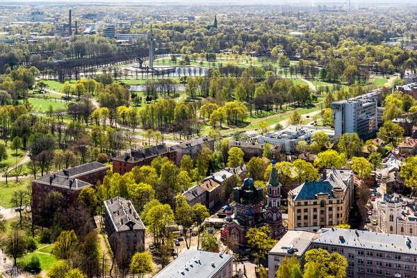 Riga stadsgezicht Letland huis gebouw landschap Stockfoto © amok
