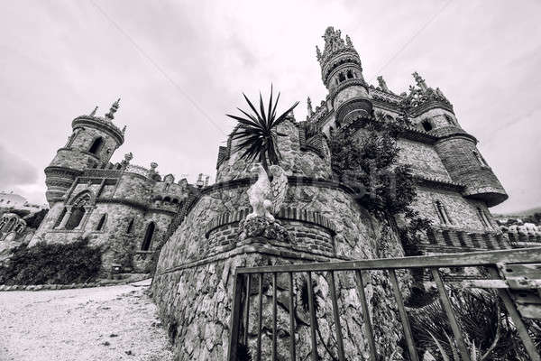 Colomares Castle, black and white. Benalmadena town. Spain Stock photo © amok