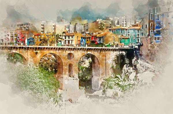 Digital watercolor painting of Villajoyosa / La Vila Joiosa town Stock photo © amok