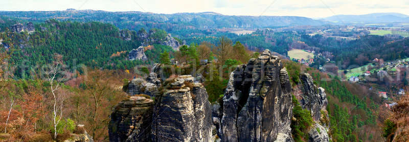 Panoramic view of Bastei. Germany Stock photo © amok
