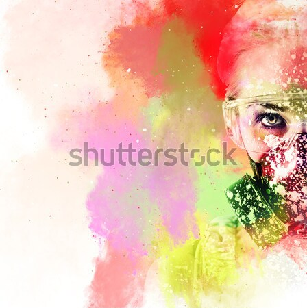 Naked young woman. Image combined with an digital effects. Stock photo © amok