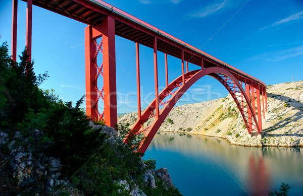 Köprü Hırvatistan gökyüzü çim yol doğa Stok fotoğraf © amok