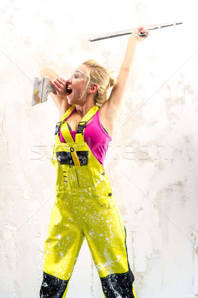 Tired female construction worker  Stock photo © amok
