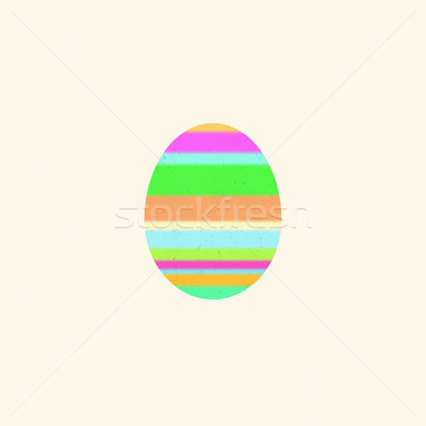 Multicolored Easter egg on a beige background. Digital art Stock photo © amok